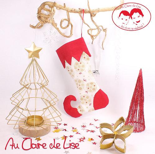 Botte de lutin de Noël à suspendre avec des boules or et rouge