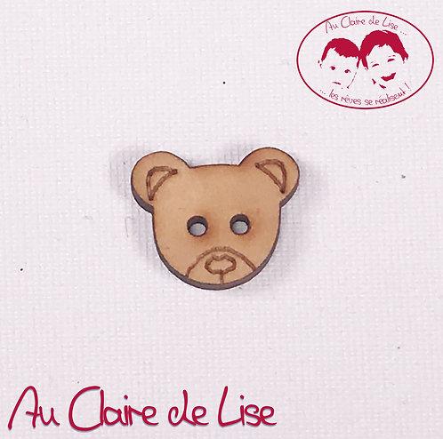 Bouton fantaisie tête de nounours2 trous - bois - 18mm oreille à oreille