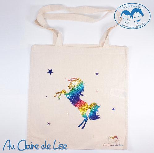 Tote bag licorne avec étoiles multicolores