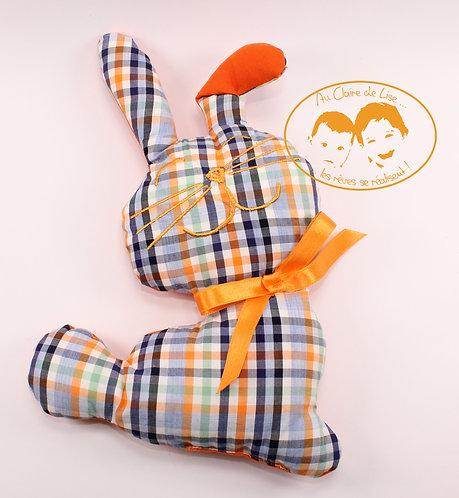 Coussin Lapin bleu foncé et orange avec ruban couleur orange