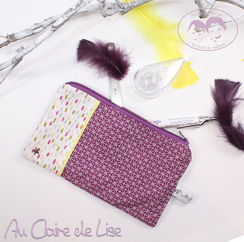 Trousse plate girly bi-imprimés confettis et géométrie violet