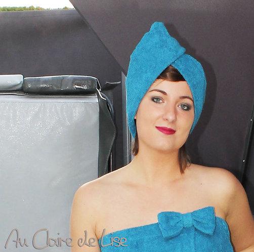 Serviette turban turquoise à cheveux en éponge