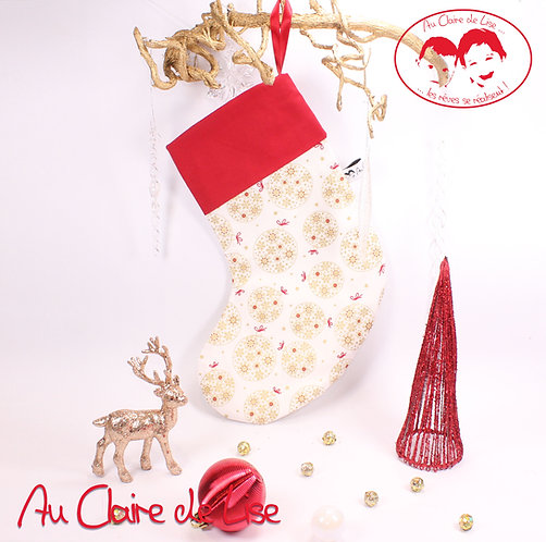 Chaussette de Noël à suspendre, boules rouge et or