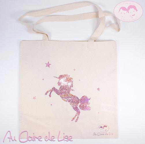 Tote bag jolie licorne avec étoiles rose clair