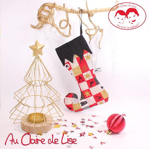 Botte de lutin de Noël à suspendre avec des motifs traditionnels noir, rouge, or