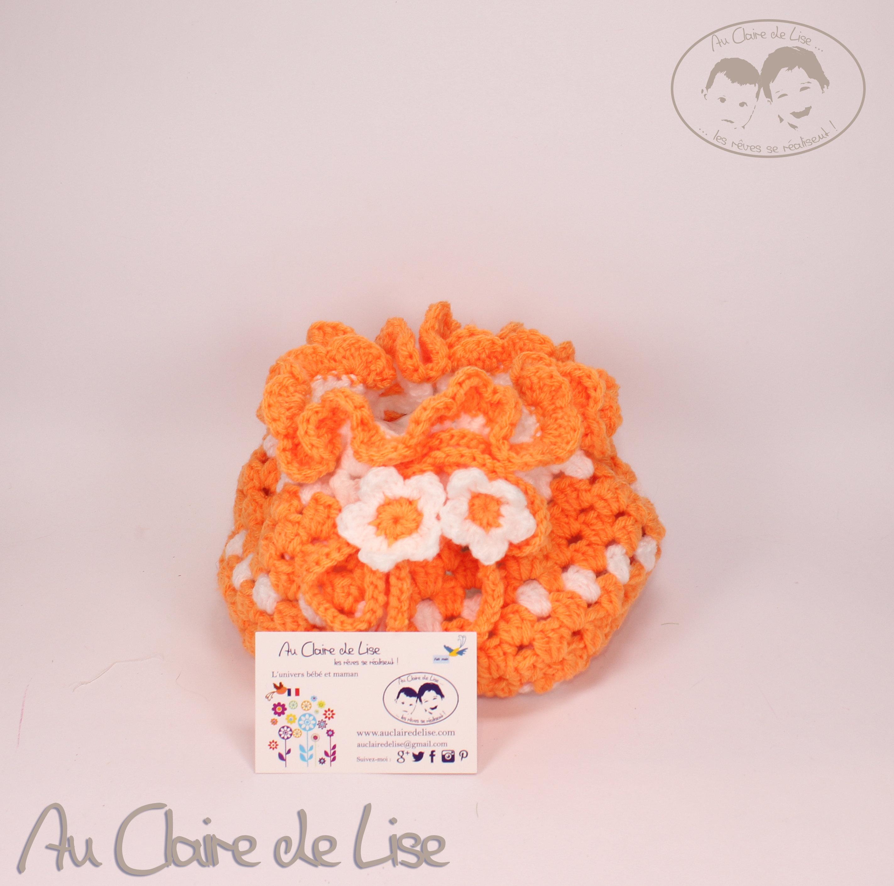 Pochon-panière orange et blanc pour la salle de bain, entrée, salon