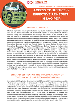 Lao UPR Factsheets - Justice & Remedies.