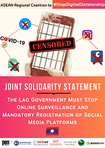 Joint Statement - Lao government must st
