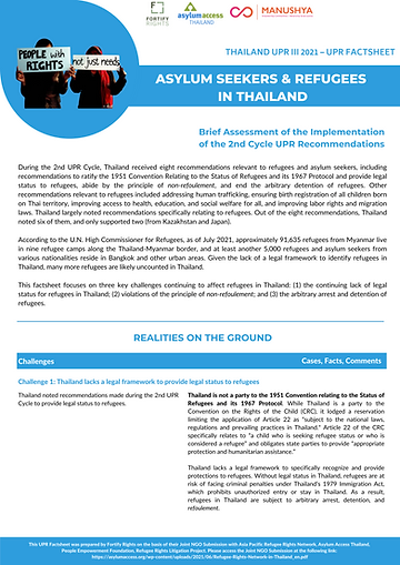 AS and Refugees Factsheet - Thailand UPR III .png