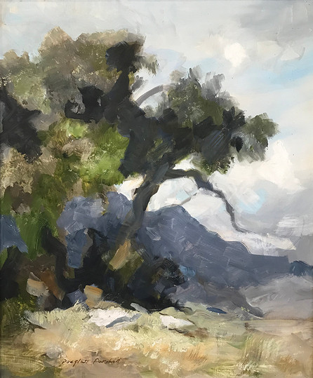 Oak Tree and Mountain