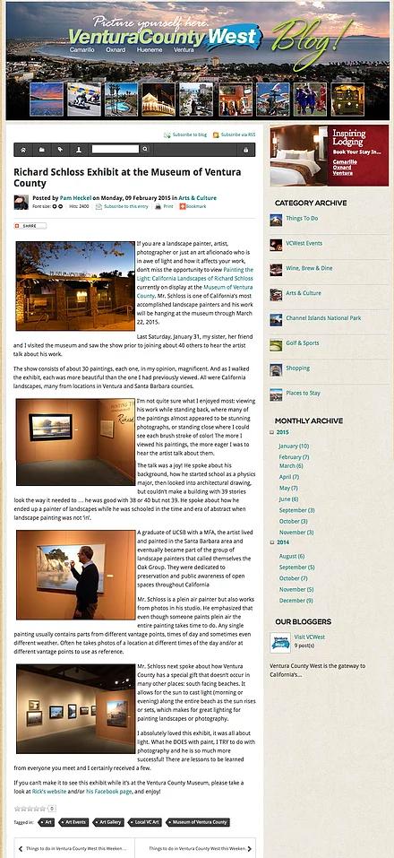 Richard Schloss Exhibit at the Museum of Ventura County