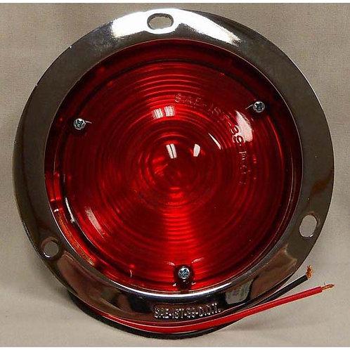 "Turn Signal - 4"" Round Die-Cast Chrome Flange - Red Incandescent"