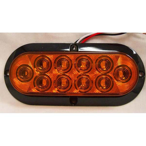 "T/S - 6"" Oval - Amber 10 LED"
