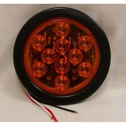 """T/S - 4"""" Round Kit Lead Wire - Amber 10 LED"""