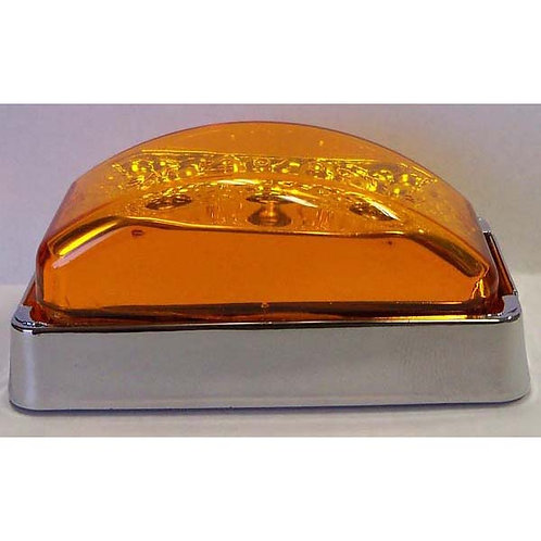 "2 7/8"" Amber/Chrome Rectangular Clearance Marker- 3 Led"