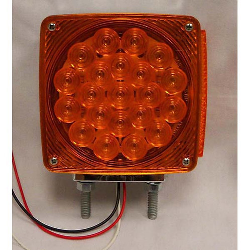 T/S - Vertical - Chrome Housing - Amber/Amber 2 Studs - 21 LED