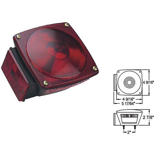 """Under 80"""" Wide Red Trailer Light W/ License Light- submersible"""