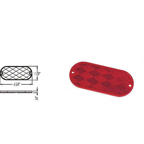 Red Oblong Reflector W/ 2 Mounting holes