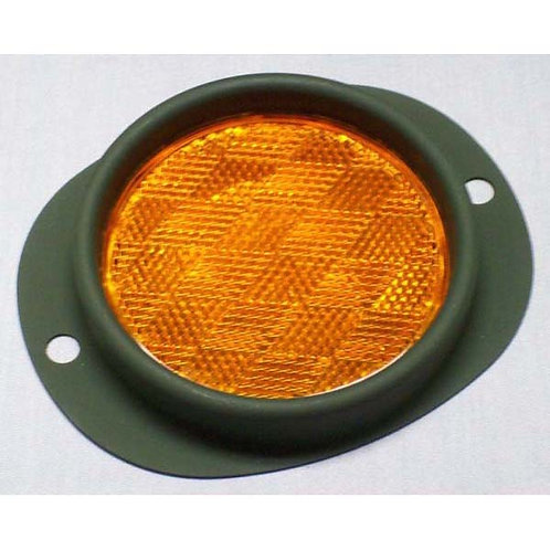 "3"" Diameter - Amber -  Reflector - W/ Green Steel - Military Spec Paint"