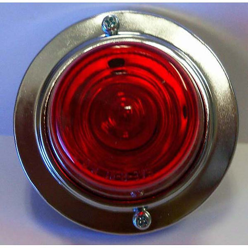 "3.25"" Round Red Clearance Marker W/ Chrome Bezel"
