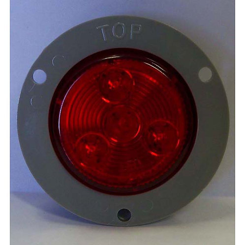 """2"""" Red Clearance Marker- 3 LED W/ Flange"""