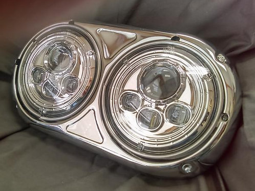 Left Side DUAL SMALL ROUND LED HEADLIGHT ASSEMBLY