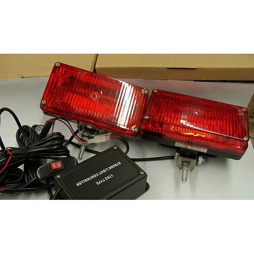 Red Rectangular Strobe Light W/ Stud Mnt