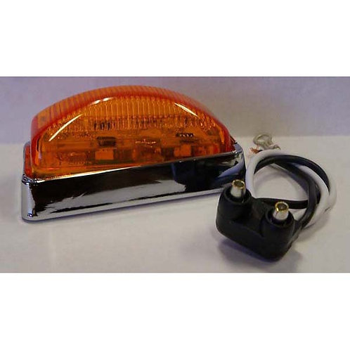 """2 7/8"""" Amber/Clear Rectangular Clearance Marker- 3 Led"""