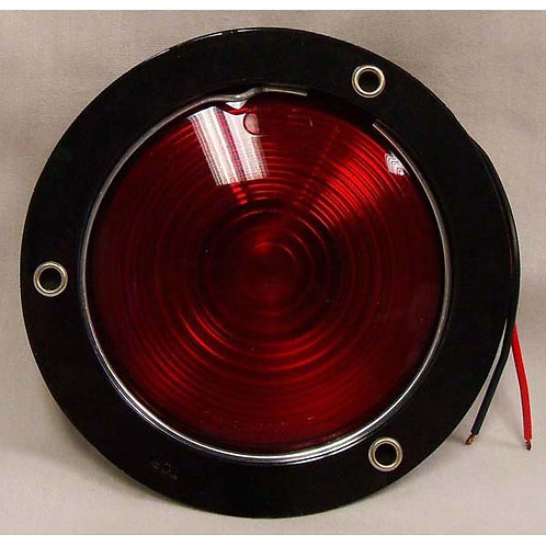 "S/T/T - 4"" Round Black Plastic Flange - Red Incandescent"