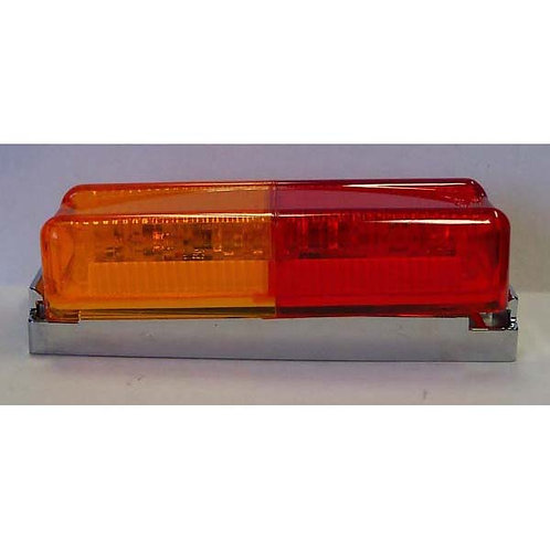 "4"" Amber/Red Clearance Marker Kit- Chrome Bracket- 3 Led"