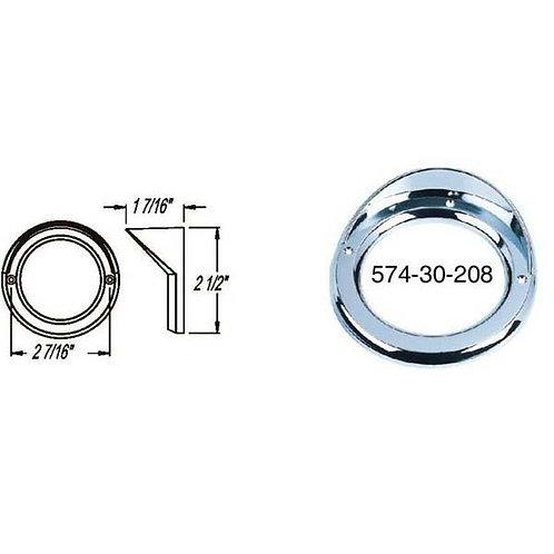 "Bezel - 2"" Round - Chrome W/Visor"