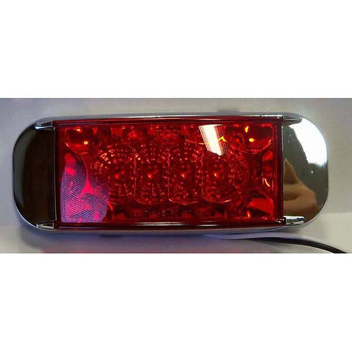 "6"" Red Rectangular Clearance Marker- Chrome, 16 Led"