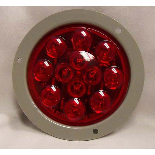 "S/T/T - 4"" Round - Gray Flange - Red 12 LED"