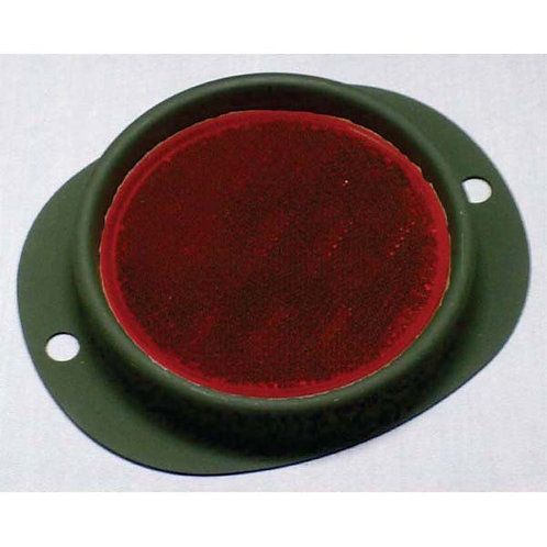 "3"" Red Reflector - W/ Steel Green Housing - Military Paint"
