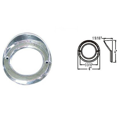"Bezel - 2.5"" Round - Chrome W/Visor"