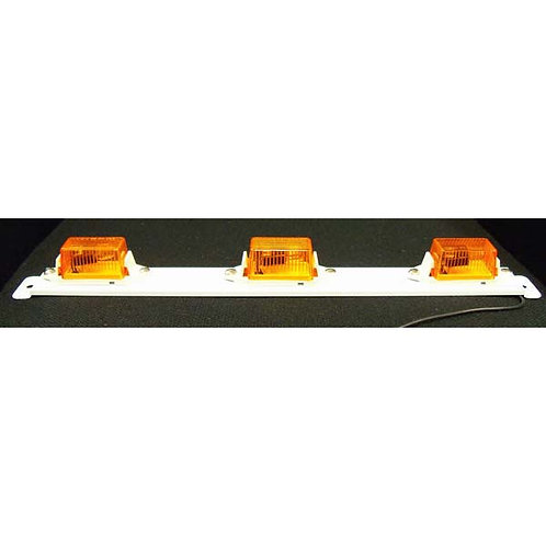 3-Mini Amber Id Light Bar On White Steel Bar