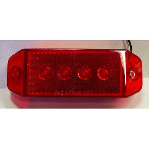 "Clearance Marker - 6"" Reflective - Red 4 LED"