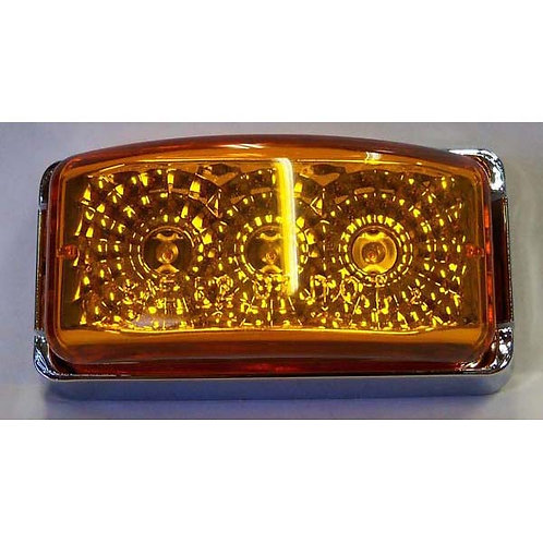 "2 7/8"" Amber/Chrome Rectangular Clearance Marker Kit- 3 Led"