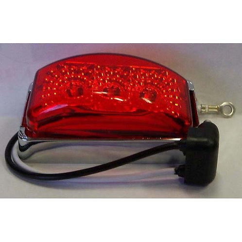 "2 7/8"" Red/Chrome Rectangular Clearance Marker- 3 Led"