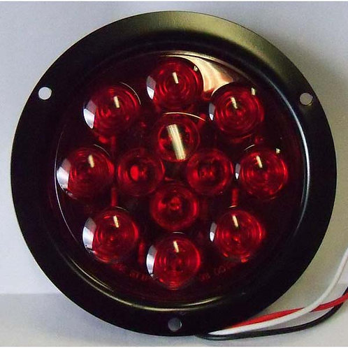 """S/T/T - 4"""" Round - Black Steel - Red 12 LED"""