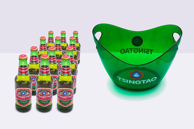 Cerveza Tsingtao Bot 330 x24 uni. + 1 Hielera
