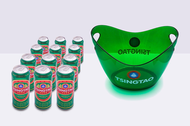 Cerveza Tsingtao lata 500cc x24 uni. + 1 Hielera