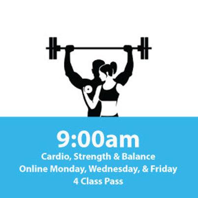 4 Class Pass: Cardio, Strength & Balance Online