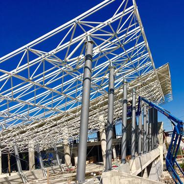 מרכזית לב המפרץ הקמת הגג