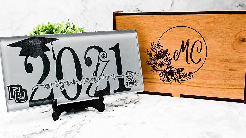 Personalized Engraved Glass Tile, Graduation