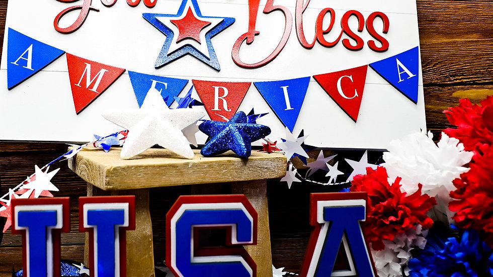 Patriotic Wooden Decor, God Bless America Door Hanger, USA Letters