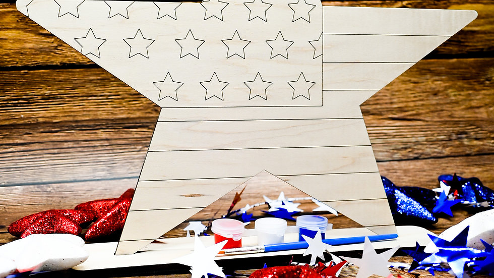 DIY Paintable Star, Unfinished Art Project Kit, Patriotic, Independence Day