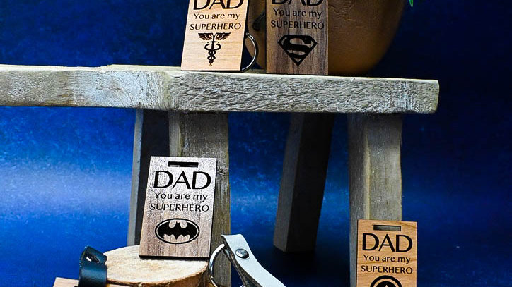 Father's Day Laser Engraved Wood Keychain, Hero