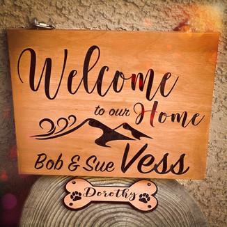 Custom Welcome Sign with Hanging Dog Bone