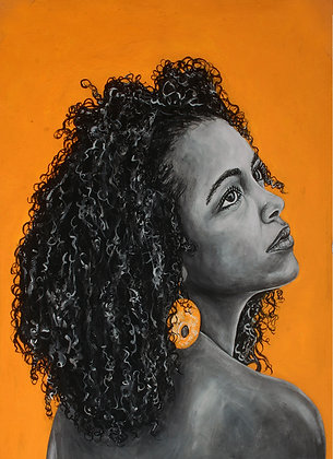 Natural Hair: Acrylic Painting Replica on Panel